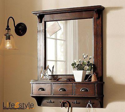 Fresh Wall Mount Entryway organizer Mirror Hallway Coat Rack Key Cabinet