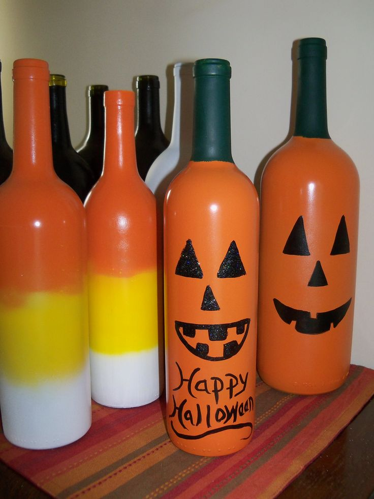 pumpkin faces and candy corn | Painted Wine Bottles ...