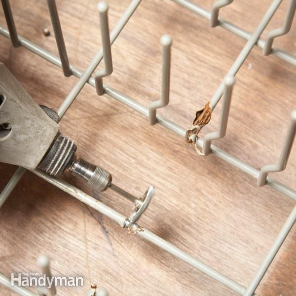 A rusty dishwasher rack can leave rust streaks on dishes. Instead of buying an overpriced replacement rack, recoat and cover the rusty spots yourself in less than an hour.