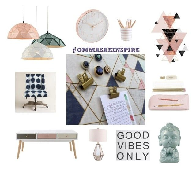 """Good vibes only office"" by info-521 on Polyvore featuring interior, interiors, interior design, thuis, home decor, interior decorating, Kate Spade, Cost Plus World Market en Catalina"