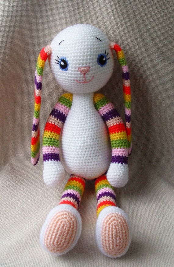 Crochet Bunny  Crochet toy  Multicoloured soft bunny от NittoMiton