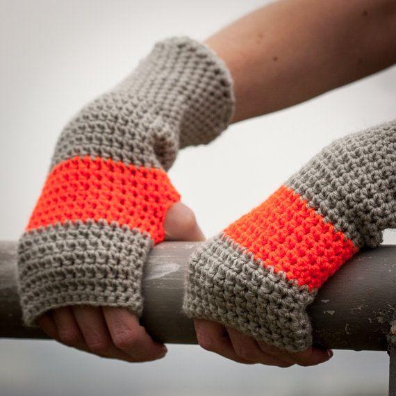 Orange Grey Fingerless Gloves / Crochet Arm Warmers by RUKAMIshop