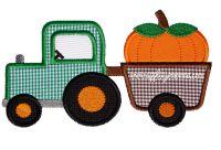 Tractor with Pumpkin Trailor Applique Design