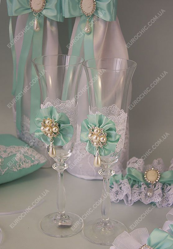 Бокалы на свадьбу бирюзовые CLASSIC WEDDING