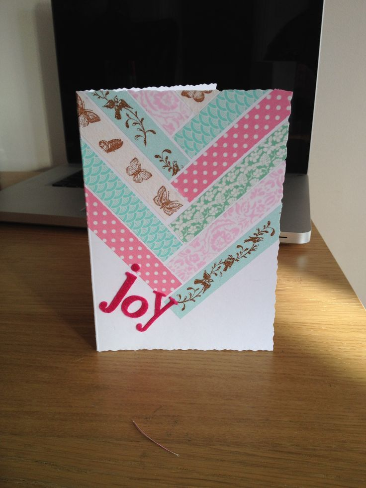 'Joy' card. Any occasion card. Washy tape. Blue and pink.