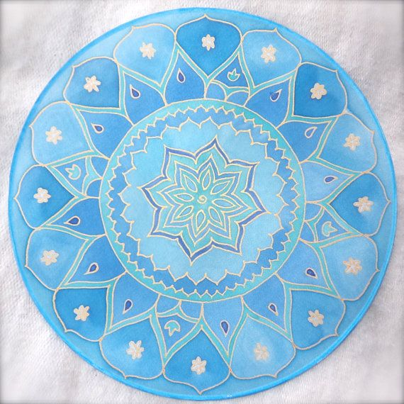 Mandala en seda loto azul 25cm O meditación zen por ShantiCreation