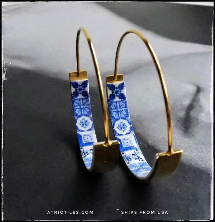 Hoops Earrings Atrio Tile Flat Bottom Portugal Stainless Steel Antique Azulejo – 1 1/4″ Blue Tiles USA Shipping THIN WIRE