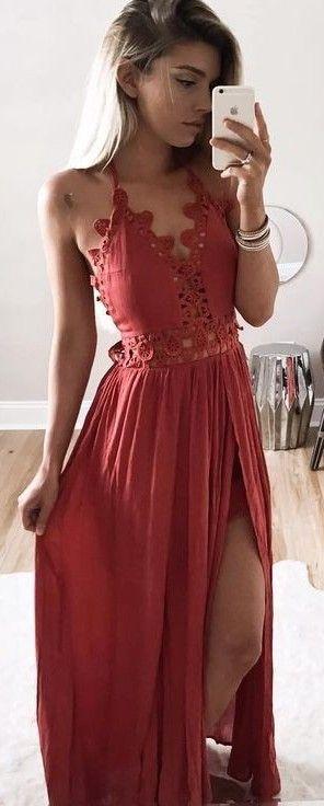 Red Boho Maxi Dress                                                                             Source