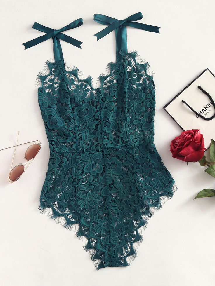Ribbon Tie Shoulder See Though Floral Lace Bodysuit -SheIn(Sheinside)