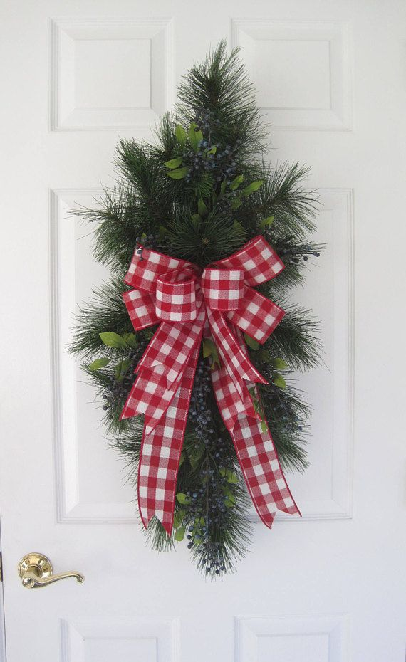 Christmas Door Swag 36-Inch Swag Blue Berries Red Buffalo