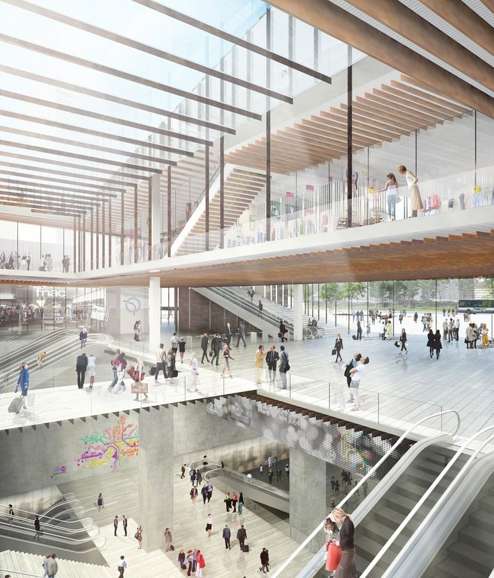Kengo Kuma and Associates has won an international competition to design the new Saint-Denis Pleyel train station in ...