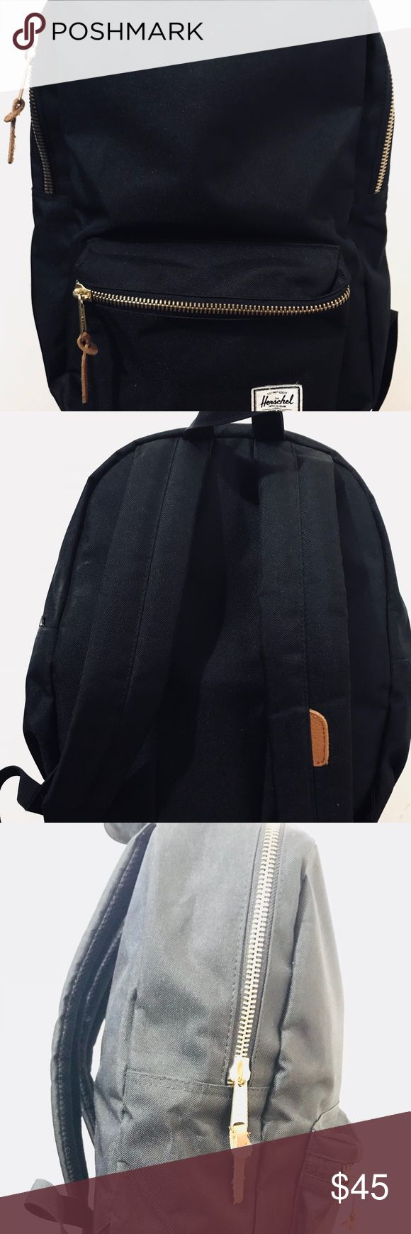 """Herschel backpack Herschel Settlement Backpack: Mid-Volume  Has 13"""" laptop sleeve, exposed zippers with pebbles leather pulls. Front storage pocket with key clip and its classic woven label.   Original price: $59.99 Bags Backpacks"""