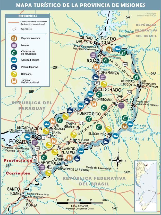 Mapa Turístico de Misiones , argentina.Nota completa: https://mapa-maps.com.ar/cataratas-del-iguazu-mapas-y-caracteristicas/