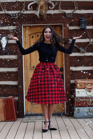 Red Plaid Wonderland Knee Length Skirt