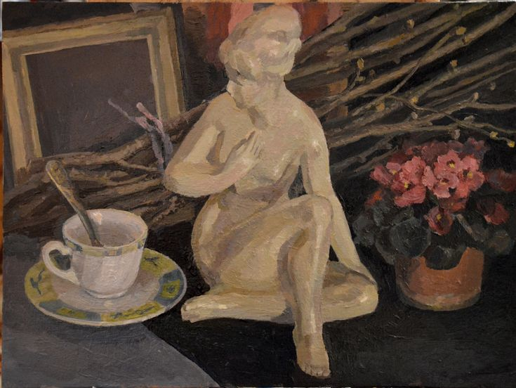 Still life oil painting with  figurine by Victoria Duryagina