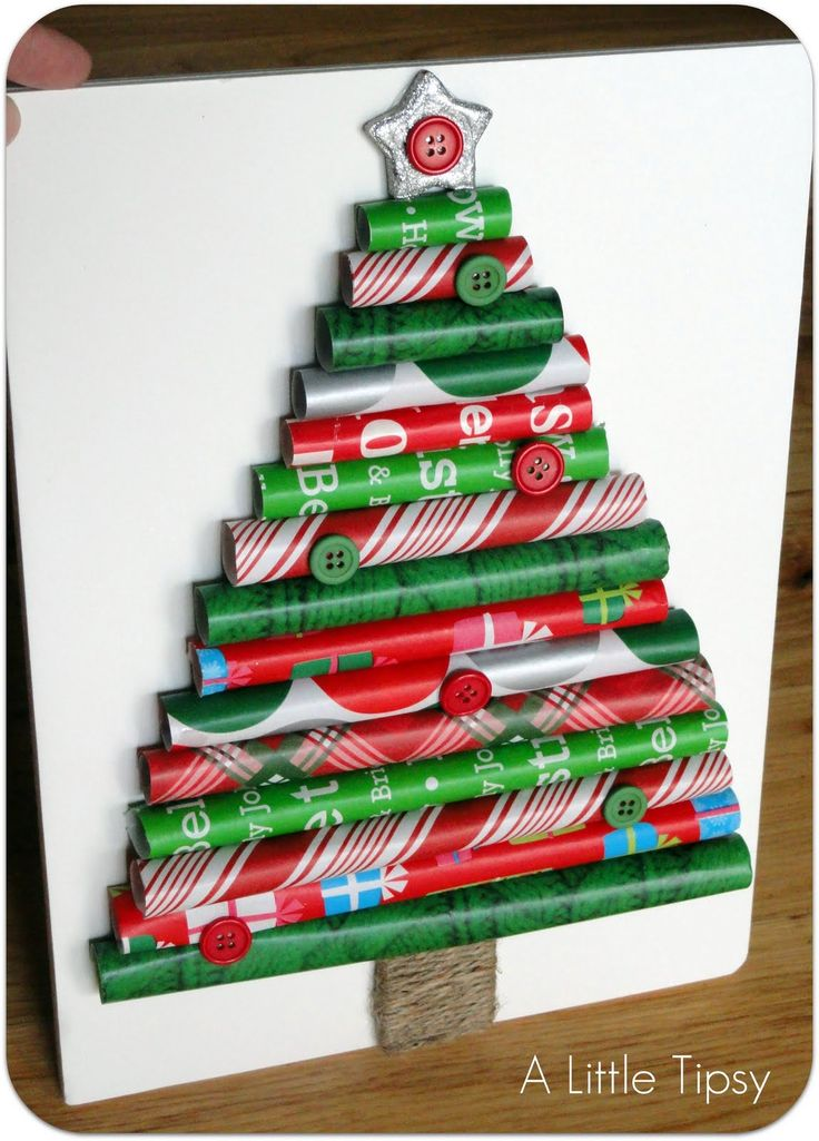 How to Make a Christmas Tree - Save wrapping paper scraps for this thrifty decor craft. @Marianne Edwards .. great art project for Christmas or bulletin board idea too (save the empty rolls with just a little paper to cover them)