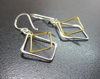 925 Sterling Silver Dangle Earring Double - Handmade Silver Dangle Earring - Geometrical Dangle - Two Tone Silver Dangle - PCE05