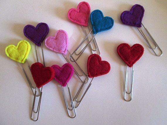 Heart Paper clips - planner clips - felt bookmark - planner accessories - Set di 3 Graffette / segnalibri / clip con di TinyFeltHeart