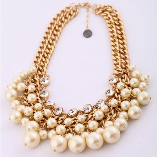 Multilayer Layered Pearl Necklace Crystal Rhinestone Choker Chunky Statement Necklace CA003