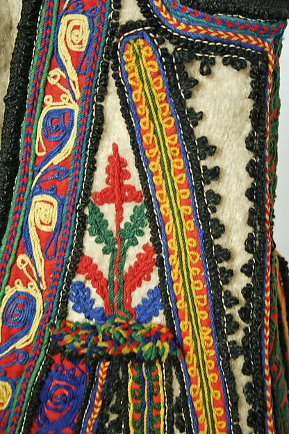 Detail of embroidery on the wool embroidered Ensemble from Greece - late 19th century or early 20th century