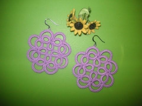 ▶ 23' TUTORIAL ORECCHINI CIONDOLO FIORE CHIACCHIERINO AD AGO EARRINGS FLOWER NEEDLE TATTING - YouTube