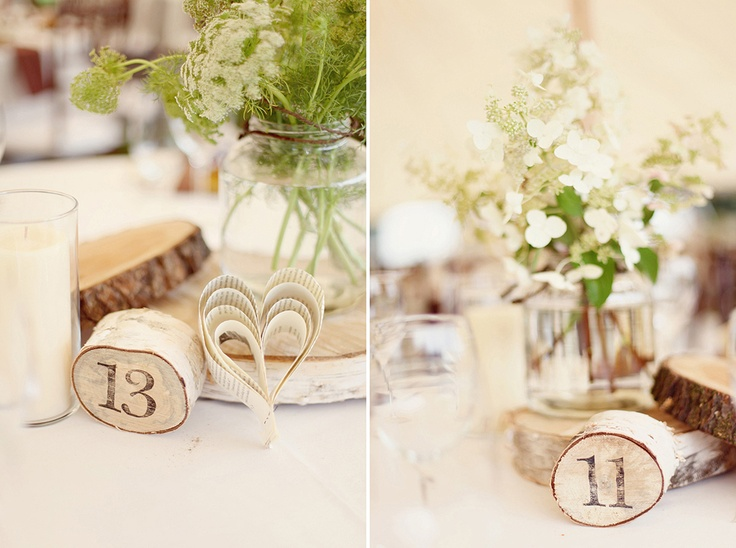 cute way to display the table number! i like these colors. rustic brown, green, white with the wood pieces