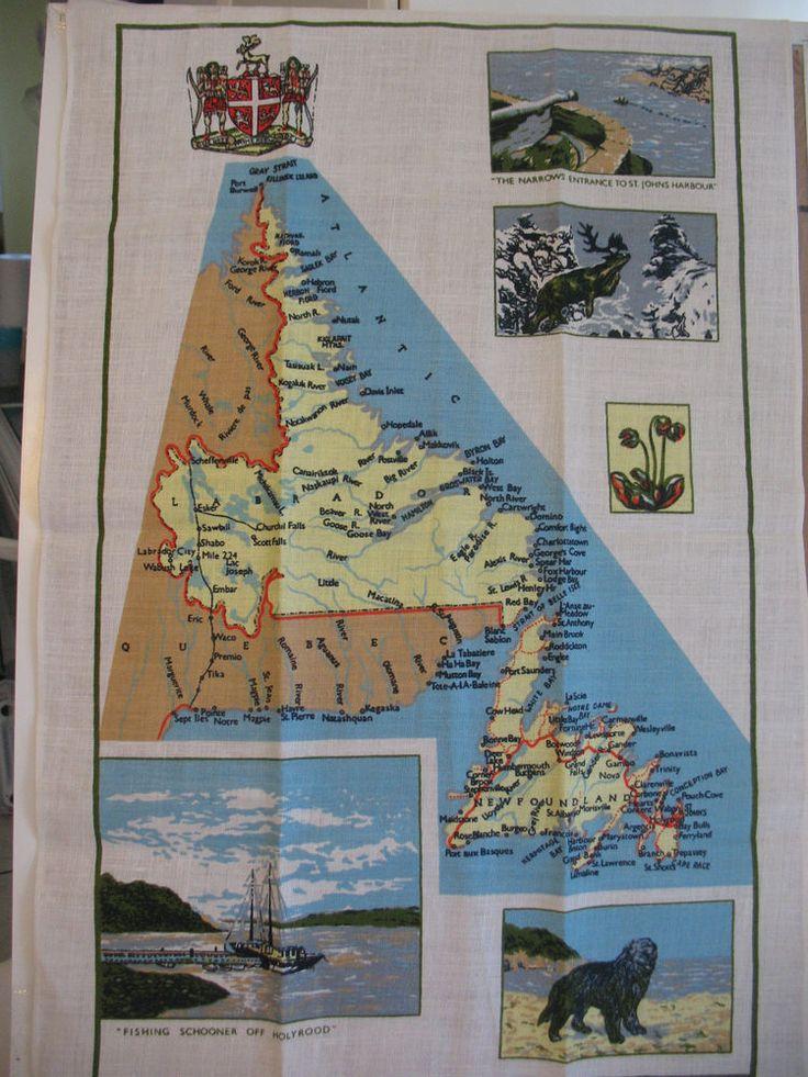 Vintage Kitchen Tea Towel Newfoundland Map St.Johns Fishing Dogs Pure Linen VGC