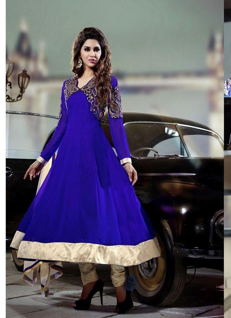 Blue Georgette Chiffon Designer Salwar Kameez