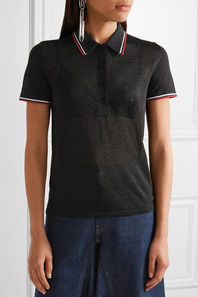 Alexander Wang - Metallic Stretch-knit Polo Shirt - Black