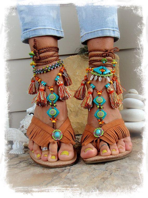 Pocahontas BAREFOOT Sandals Tribal Tassel Fringe sandal by GPyoga