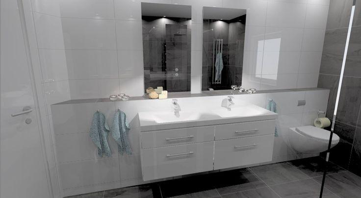 Badrum med en vit fondvägg... dubbelho och 2 speglar!