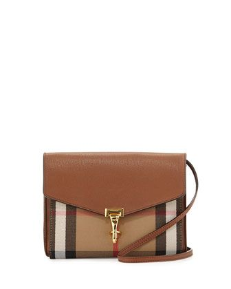 Check+&+Leather+Small+Crossbody+Bag,+Tan+by+Burberry+at+Neiman+Marcus.