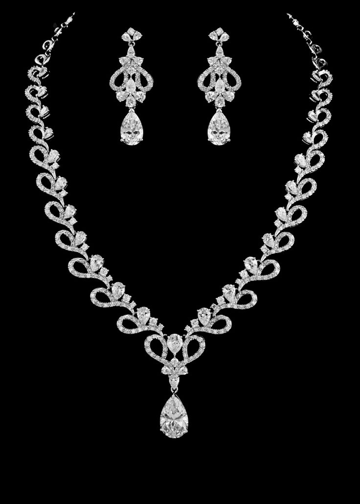 Fabulous CZ Crystal Bridal and Formal Jewelry Set ne2509 - Affordable Elegance Bridal - Jewelry Necklaces Bracelets Earrings Rings Jewelry Sets Hair Jewelry Watches Key Chains