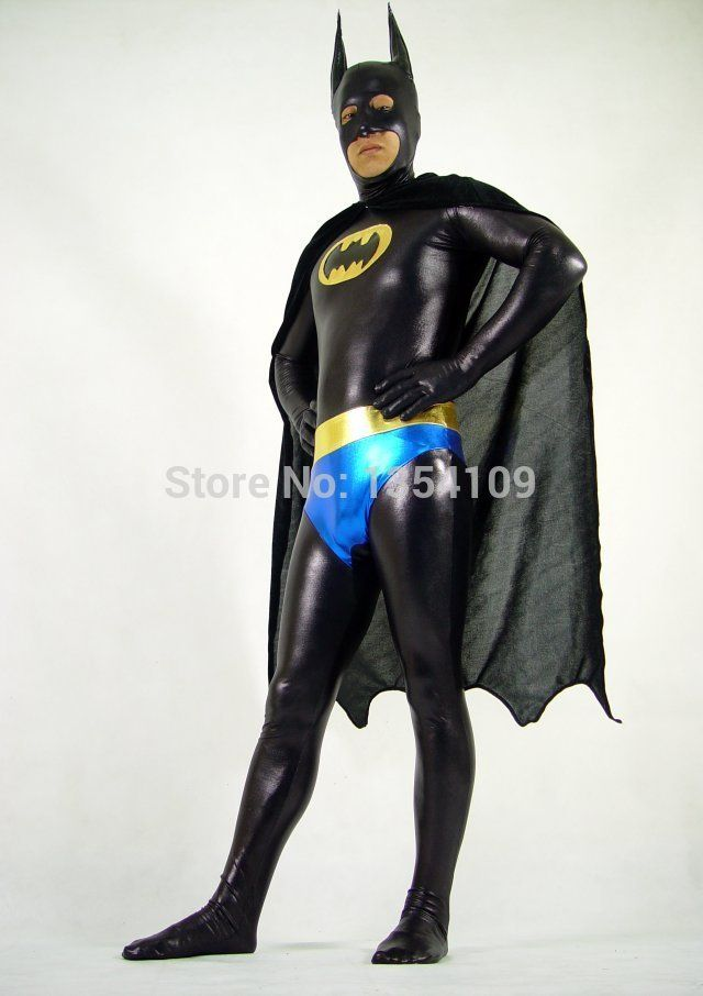 Zwart& blauw metallic batman superheld kostuums halloween cosplay partij zentai pak(China (Mainland))