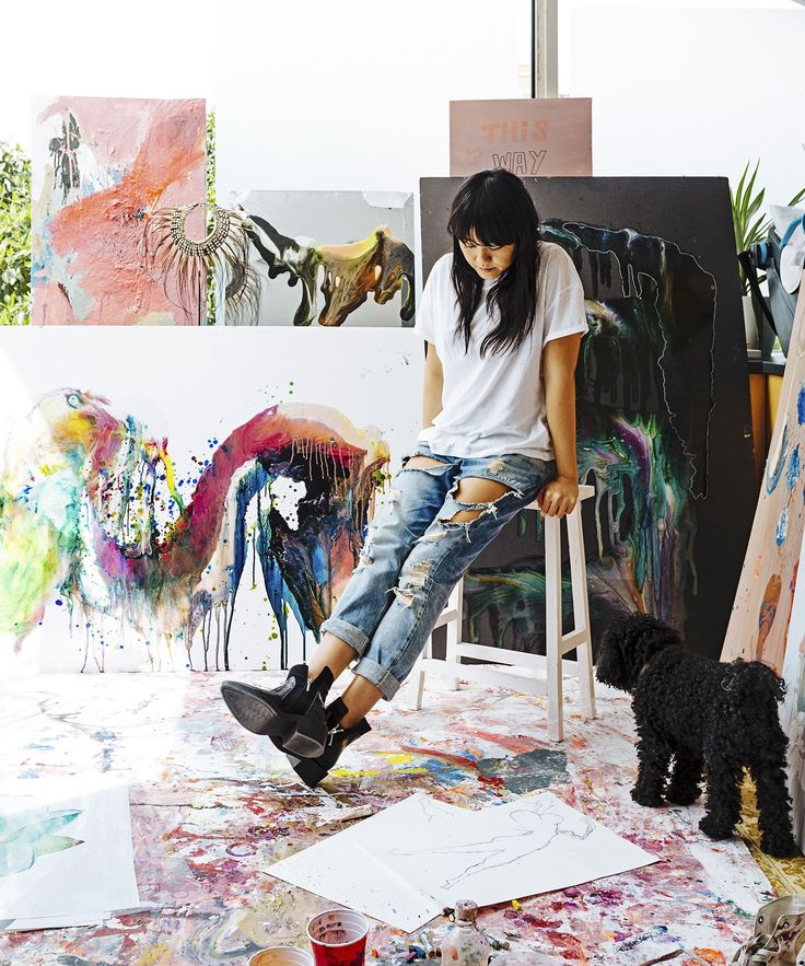 Artist Vicki Lee, surrounded by her own works, turned her home study in Sydney's…