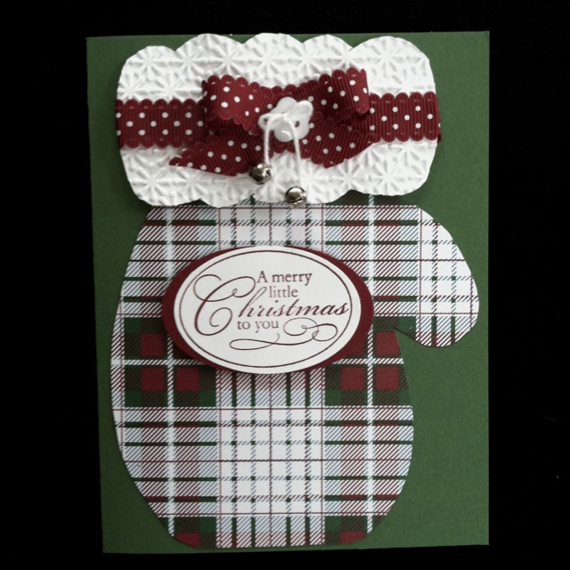 Christmas mitten card - Plaid mitten belongs on a Winter or Christmas page.