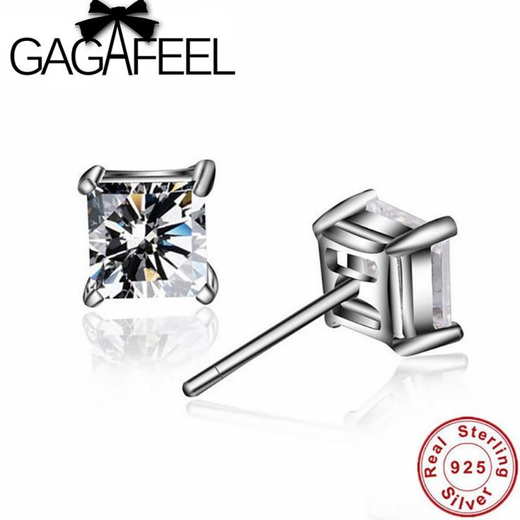 GAGAFEEL Wholesale 100% Real Pure 925 Sterling Silver earring Beautiful Square Cubic Zirconia stud earrings for Women BE33