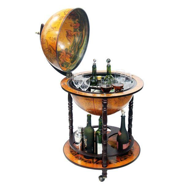 Globe Bar Liquor Storage Cabinet Wine Table Container Antique Mini Furniture #CigarCocktail