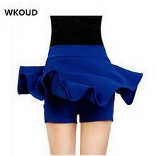 WKOUD М-5XL Плюс Размер Шорты Юбки женские Твердые Мини Плиссированные Юбки Мода Высокой Талии Повседневная Одежда DK6023(China (Mainland))