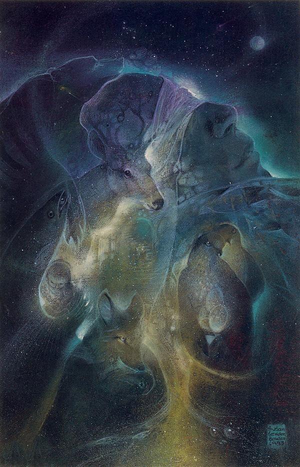 """""""Každý obraz bohyně Matky nás inspiruje a zaměřuje naše vnímání vesmíru jako organického, živého a duchovního celku, kterého se lidstvo, Země a veškerý život na Zemi se účastní jako 'její děti'. Vše je společnou tkaninou v jedné kosmické síti, kde všechny manifestace života spolu souvisí, protože se podílí na posvátnosti původního zdroje. """""""