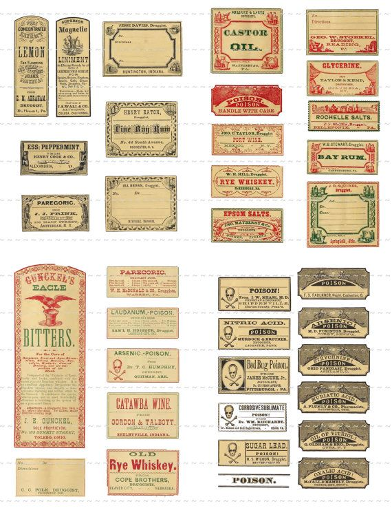 Digital Download Collage Sheet Antique 1800's Mini Vintage Druggists Apothecary Pharmacy Lemon Poison Oil Labels 50% 2 (90)