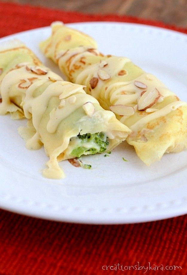 Recipe for Chicken Crepes with broccoli. I made 1/2 batch of filling using shredded chicken. Delicious!!!