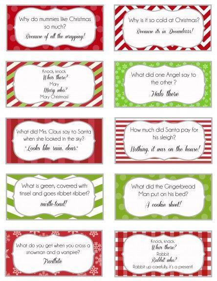 24 Free Printable Christmas Joke cards.