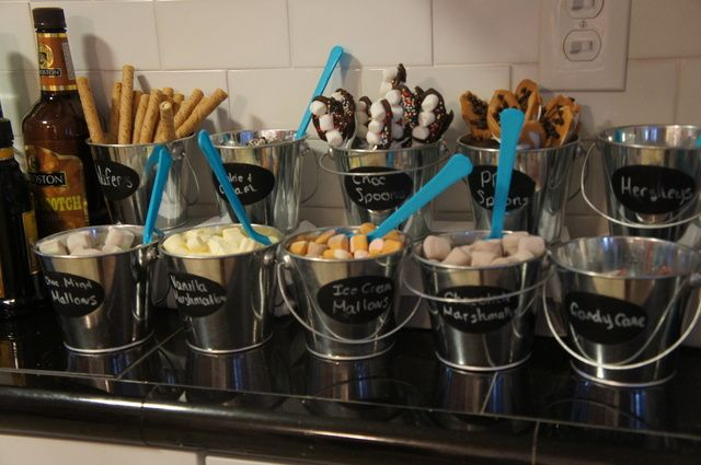Buckets of toppings for Hot Cocoa at a Winter Wonderland Party #winterwonderland #hotcocoabar