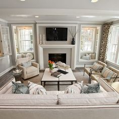 fireplace between windows - Google Search                                                                                                                                                                                 More