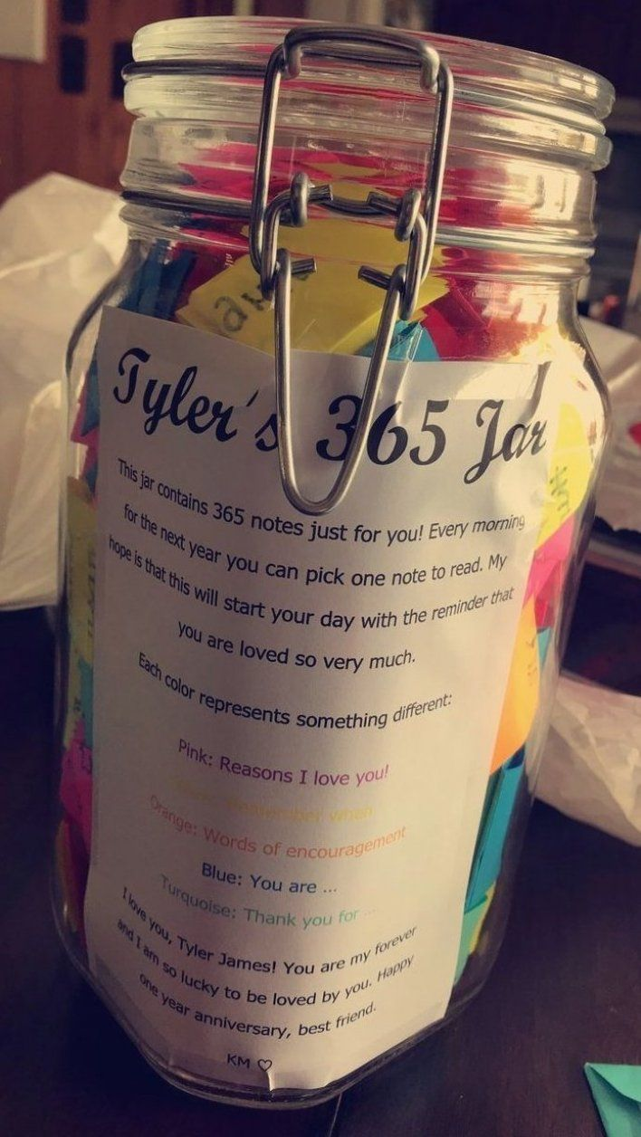 One Of The Gifts I Gave Tyler For Our One Year Anniversary The Jar Contains 365 Li In 2020 Cute Anniversary Gifts One Year Anniversary Gifts Anniversary Gifts For Him