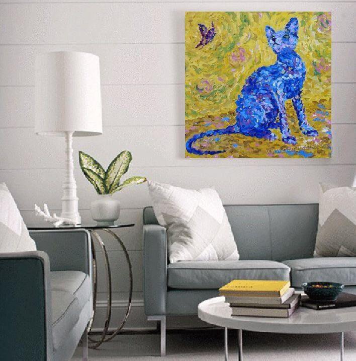oil painting,original painting,blue cat,impressionism art,heavy texture,palette knife,hand oil painting,contemporary art,oil fine art