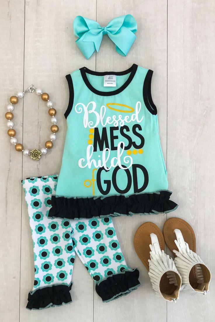 """Blessed Mess Child of God"" Mint Capri Set"