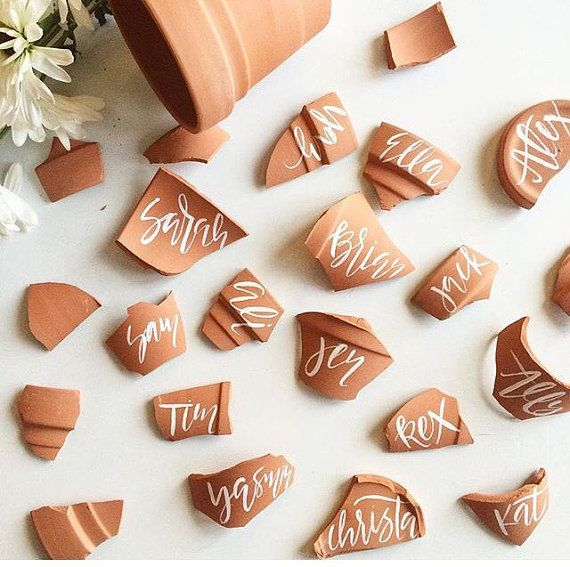 Terra Cotta Place Cards// Garden Party, Boho Wedding , Southwestern Place Cards//Calligraphy Seating http://rstyle.me/n/bugssvn2bn