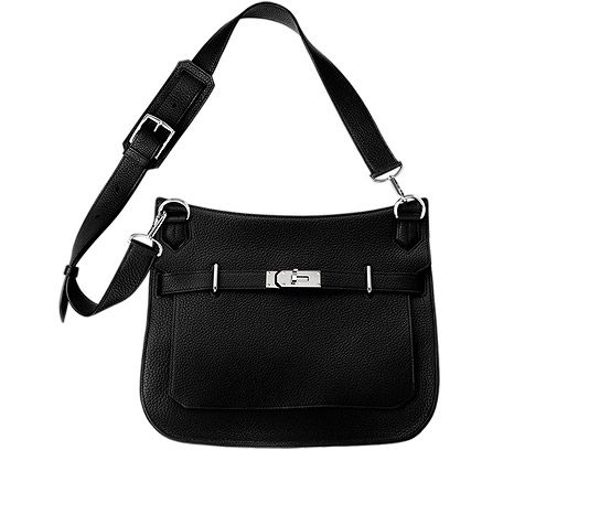 """Jypsiere 34 Unisex shoulder bag in black taurillon clemence leather (size 34) Measures 13.5"""" x 10"""" x 6"""".<br />Front flap closure with swivel clasp. Adjustable strap with 5 holes and a shoulder pad for comfort. Inside includes front zip pocket, back large pocket with gusset and small pocket for cell phone. Black"""